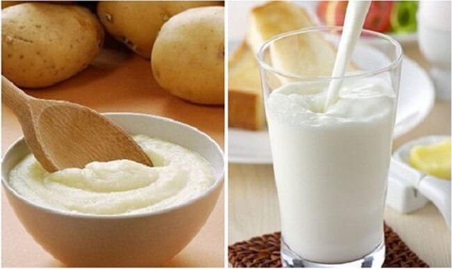 khoai tây và sữa tươi