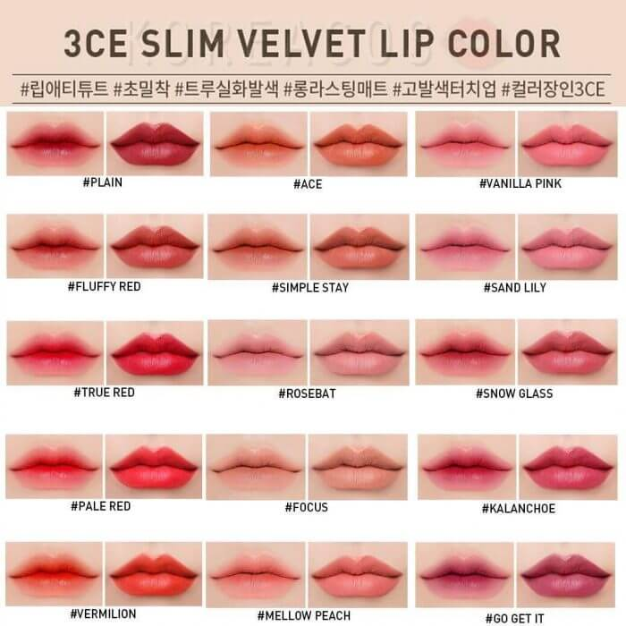 Bảng màu son 3CE Slim Velvet Lip Color