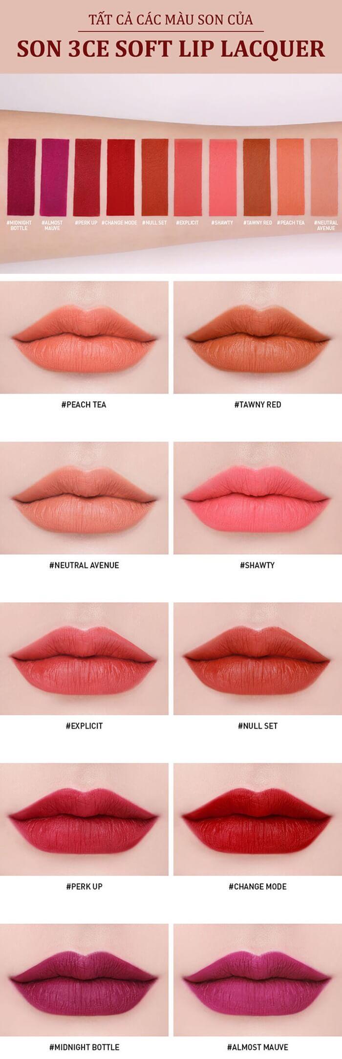 Bảng màu son 3CE Soft Lip Lacquer