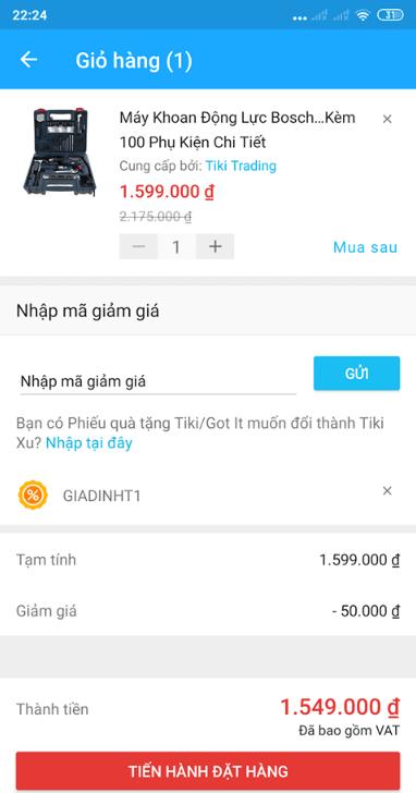 Cách nhập voucher giảm giá Tiki trên điện thoại