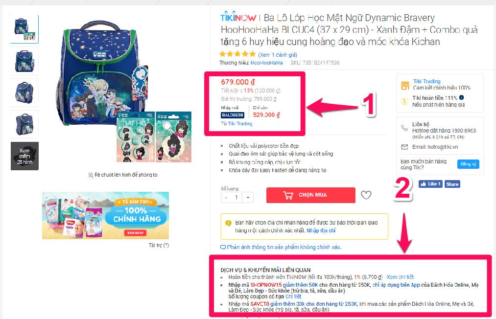 Lấy mã giảm giá Tiki trên trang chi tiết sản phẩm