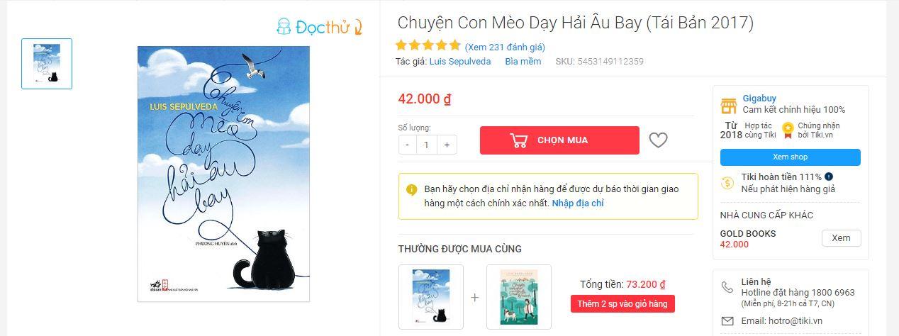 Sách Chuyện Con Mèo Dạy Hải Âu Bay là đầu sách Tiki bán chạy nhất
