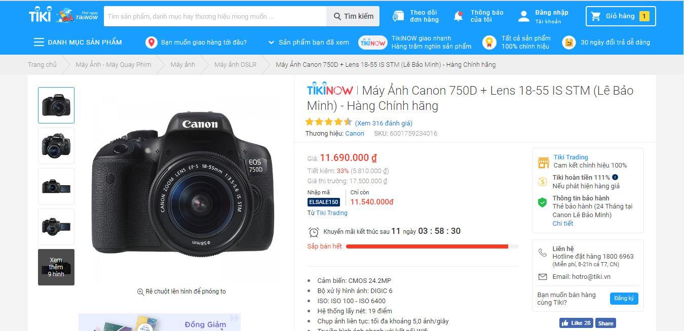 Danh sách máy ảnh Tiki bán chạy nhất