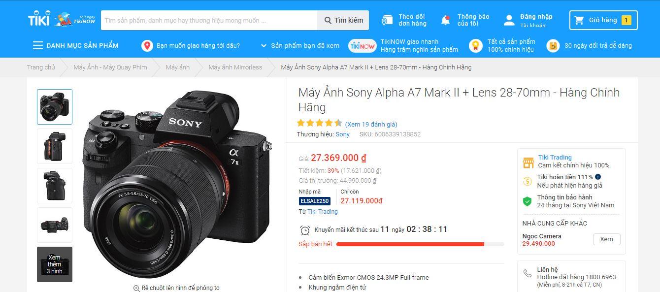 Top 5 máy ảnh Tiki bán chạy nhất