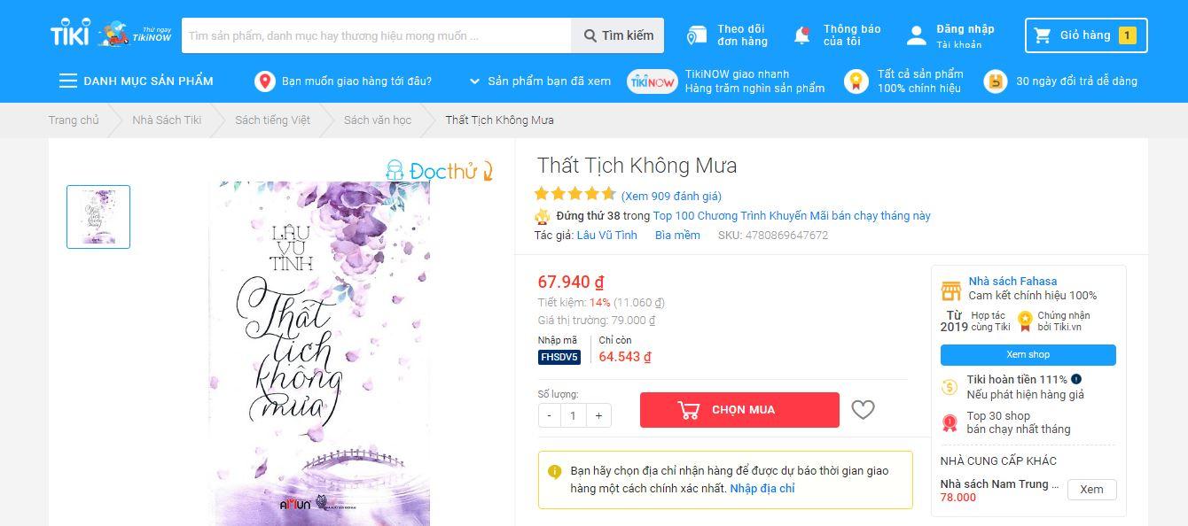 Truyện ngôn tình Tiki bán chạy nhất