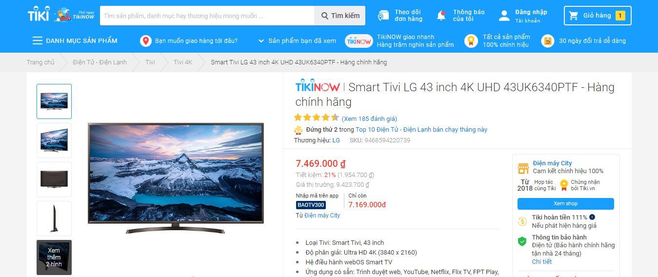 Danh sách Tivi Tiki bán chạy nhất hiện nay