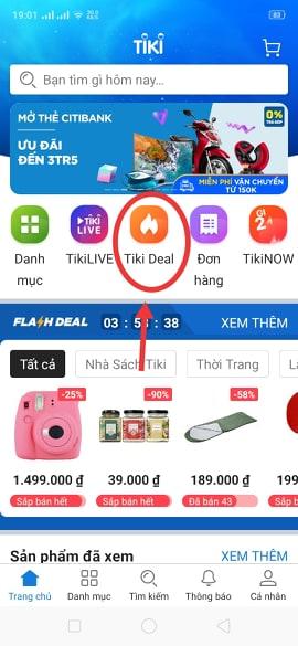 Flash sale tiki trên điện thoại