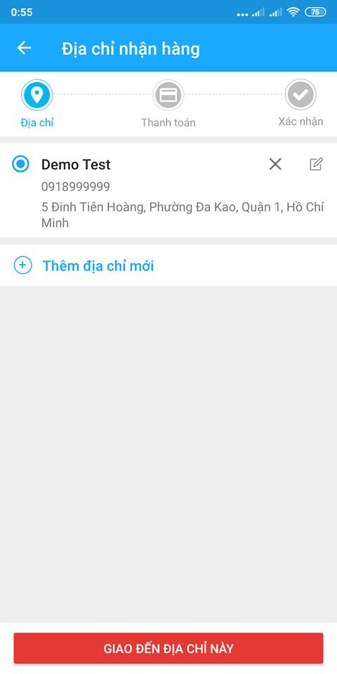 Chọn địa chỉ giao hàng Tiki