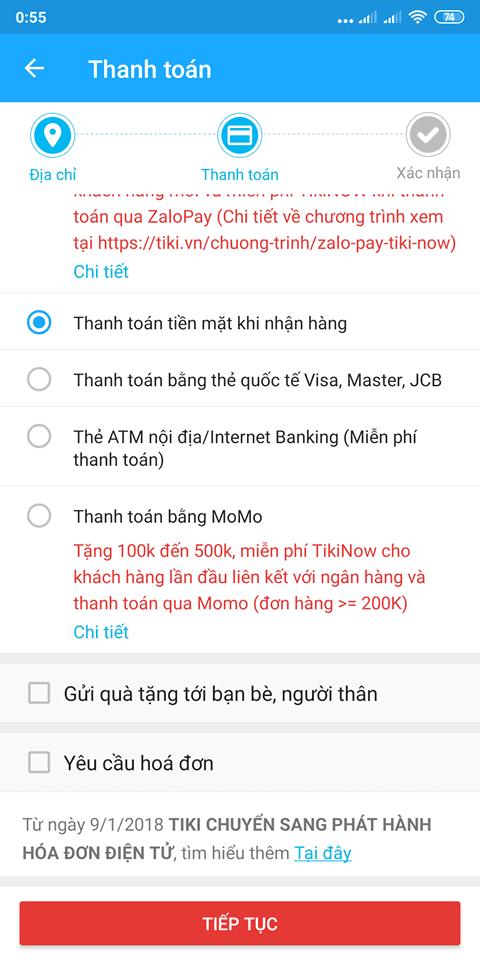 Chọn hình thức thanh toán đơn hàng Tiki