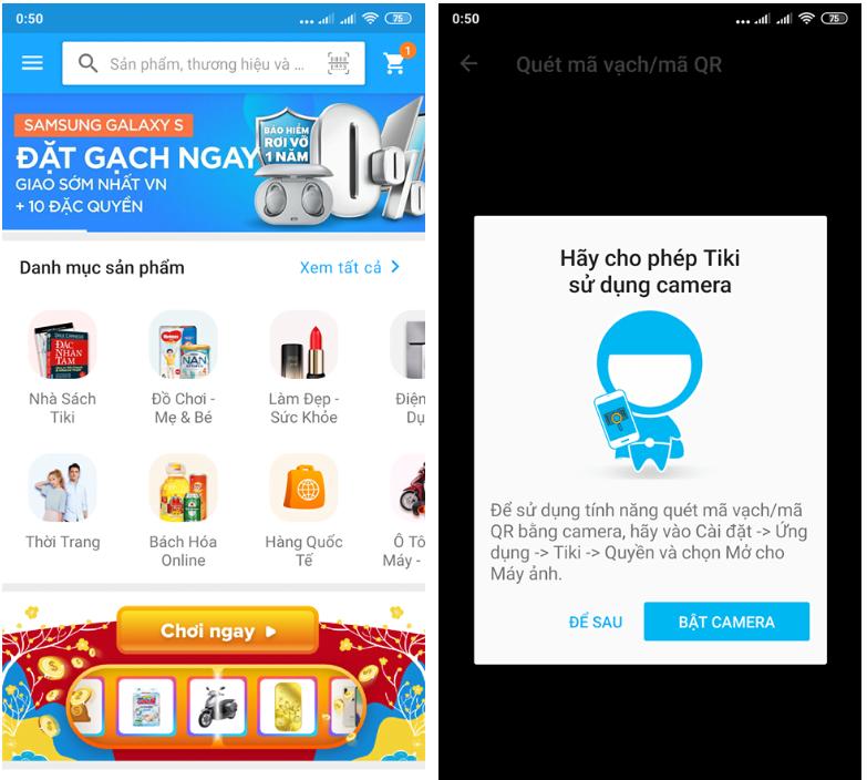 Mua hàng trên Tiki App