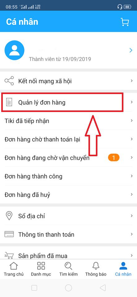Xem tình trạng đơn hàng Tiki.vn