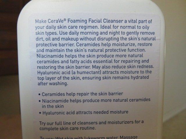 thành phần sữa rửa mặt Cerave Foaming Facial Cleanser
