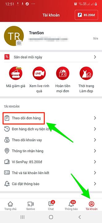 Theo dõi đơn hàng trên Sendo app
